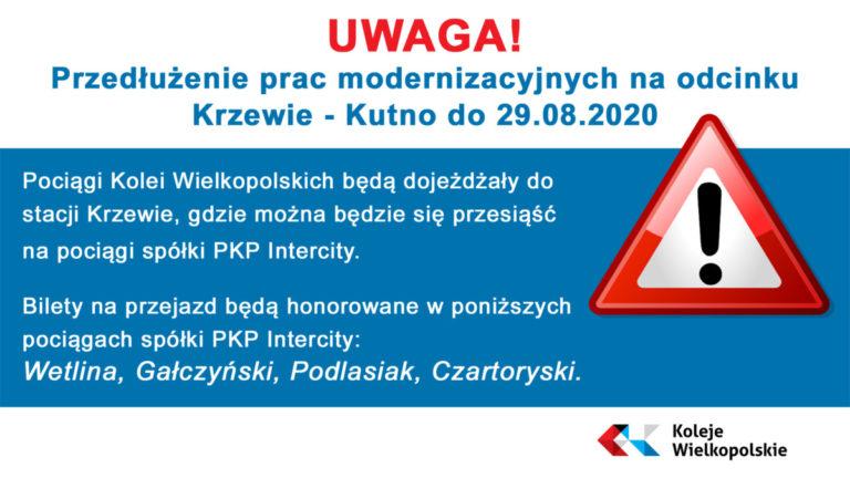 przedłużenie prac modernizacyjnych Krzewie - Kutno
