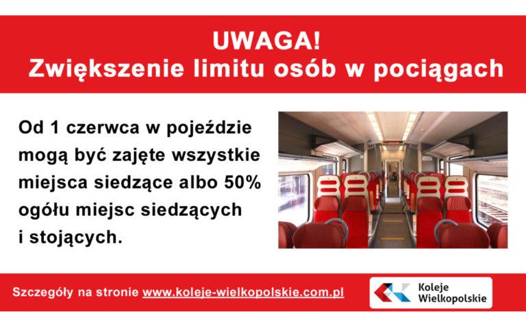 zwiększenie limitu osób w pociągach
