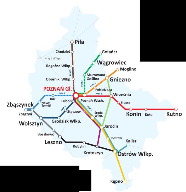 mapa połączeń Koleje Wielkopolskie