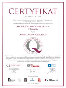 Certyfikat Firma Godna Polecenia 2015