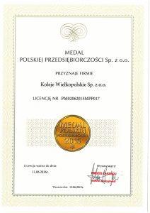 Certyfikat Medal Polskiej Przedsiębiorczości 2015