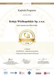 Certyfikat Złote Godło Najwyższa Jakość 2016