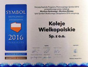 Certyfikat Symbol Skutecznego Zarządzania w ramach nagrody Symbol Publicity 2016