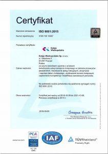 Certyfikat systemów zarządzania jakością (Norma PN-EN ISO 9001:2015)