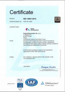 Certyfikat systemów zarządzania środowiskowego (Norma PN-EN ISO 14001:2015)