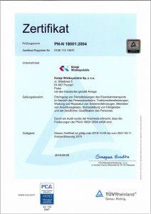 Certyfikat systemów zarządzania bezpieczeństwem i higieną pracy (Norma PN-N-18001: 2004)