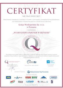 Certyfikat Wiarygodny Partner w Biznesie 2017