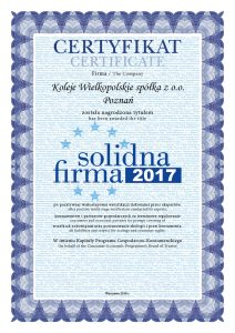 Certyfikat Solidna Firma 2017