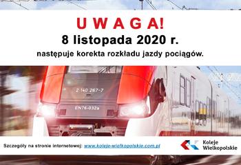 08.11.2020 – korekta rozkładu jazdy – co nowego dla naszych Podróżnych?