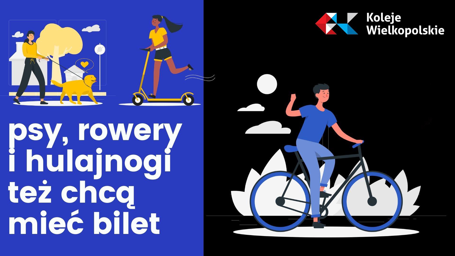 Grafika informująca o konieczności opłaty za rower, hulajnogę i psa