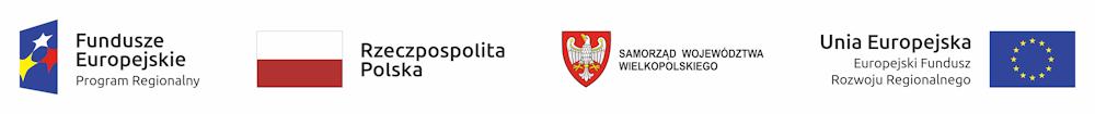 Logotyp Funduszy Europejskich wraz z flagą Polski, unii Europejskiej oraz herbem Samorządu województwa wielkopolskiego