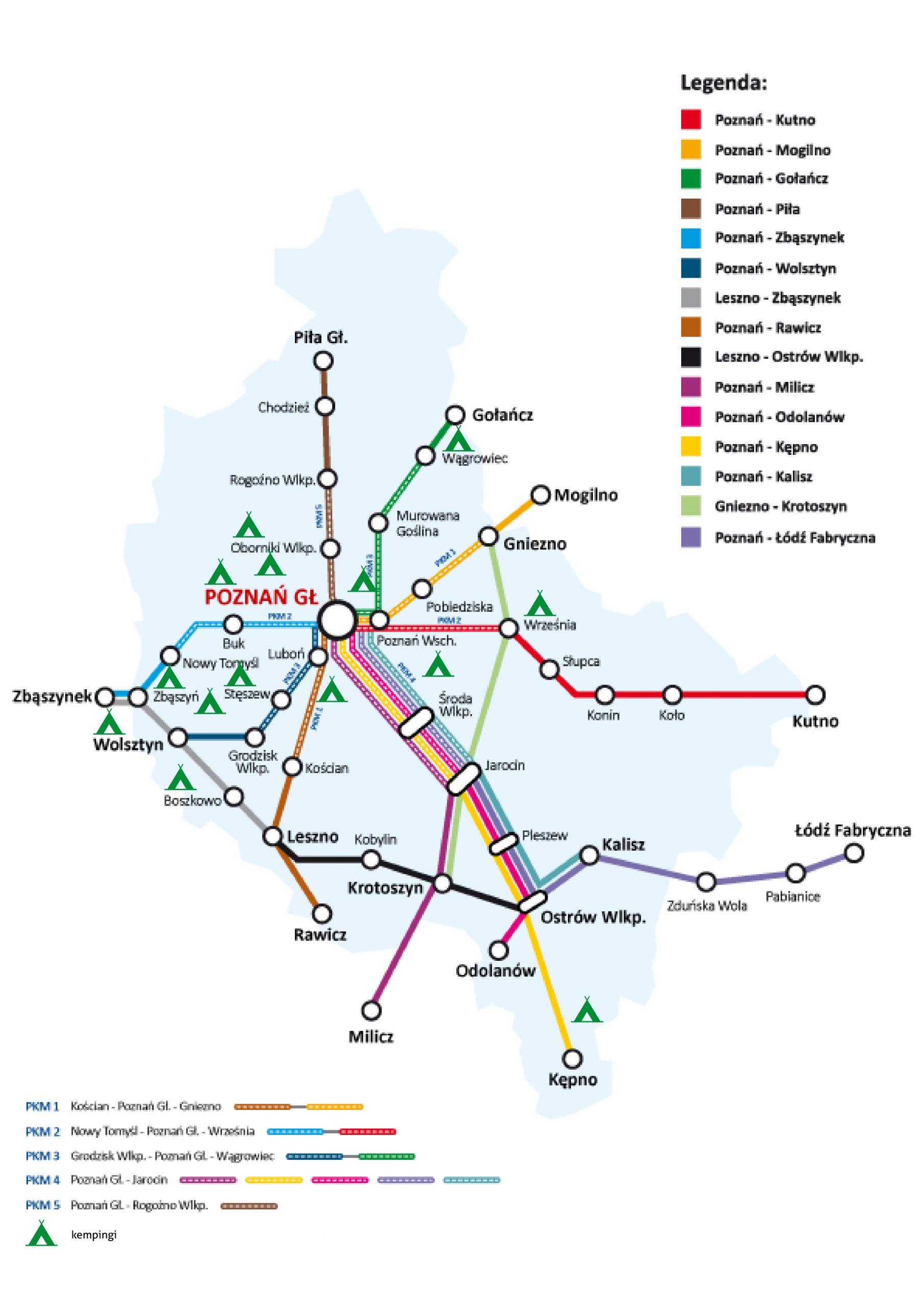 Mapa połączeń KW z zaznaczonymi miejscami kempingowymi