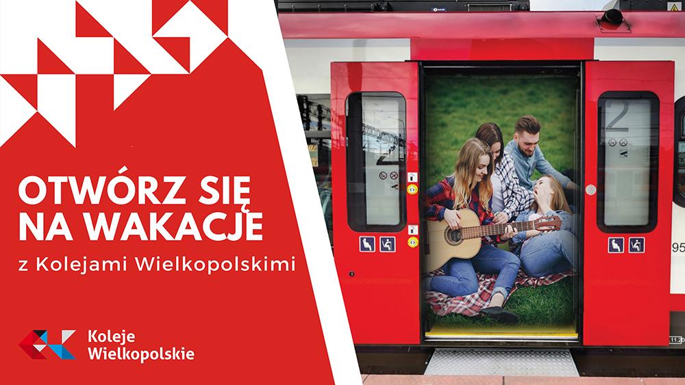 Grafika promująca Wakacje z Kolejami Wielkopolskimi