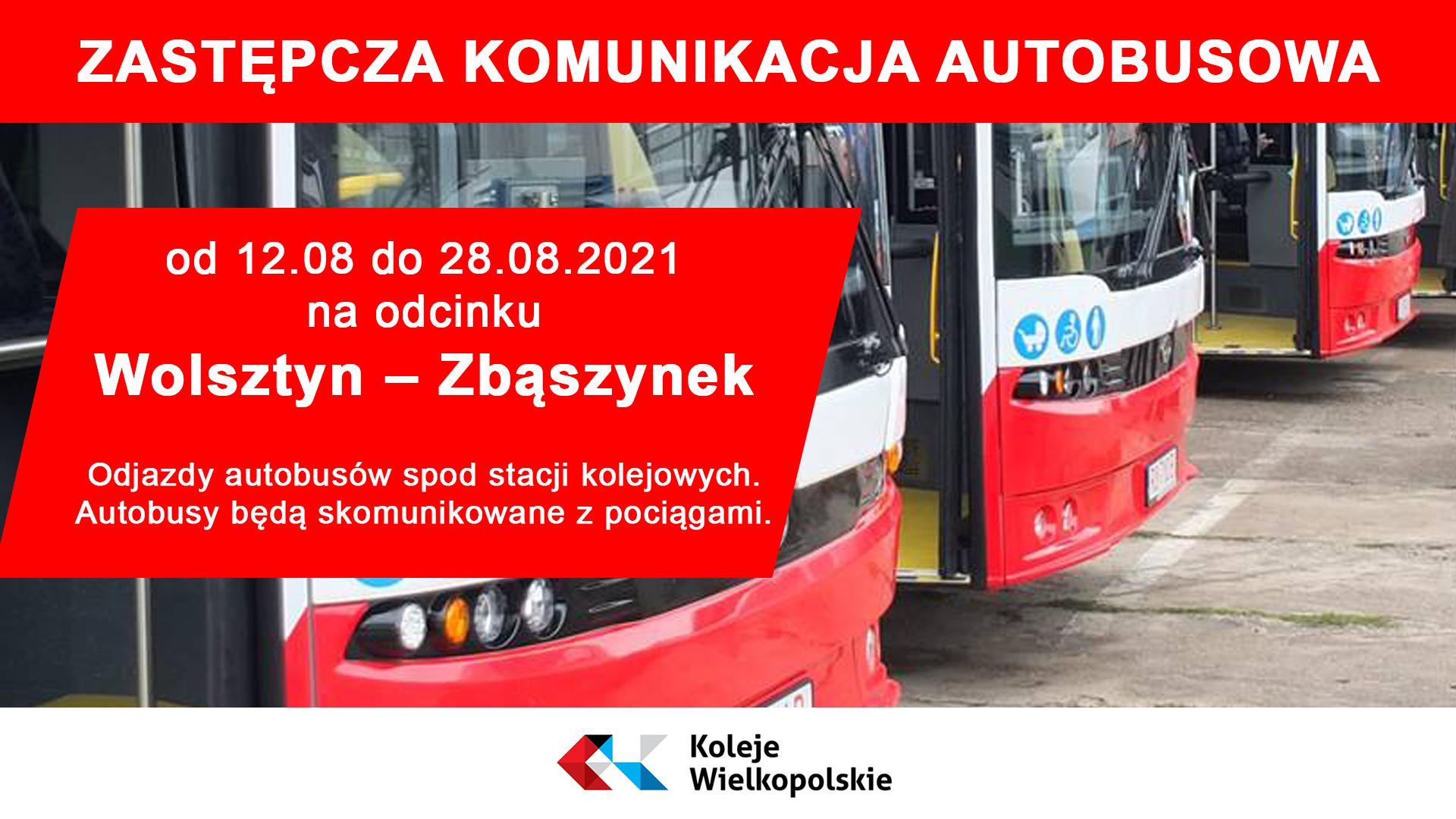 Informacja dotycząca zastępczej komunikacji autobusowej na odcinku Zbąszynek - Wolsztyn